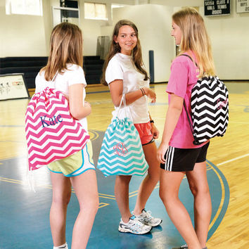 Chevron Personalized Monogrammed Drawstring Gym Bag