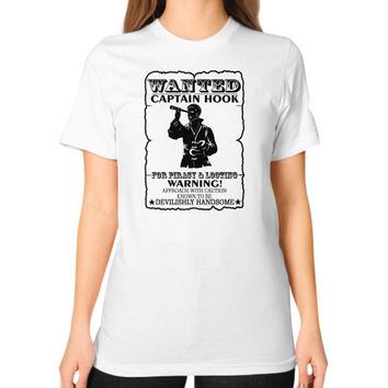 WANTED CAPTAIN HOOK Unisex T-Shirt (on woman)