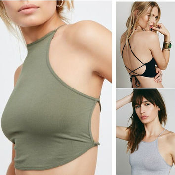 Summer Stylish Comfortable Beach Hot Bralette Hot Sale Simple Design Sexy Backless Casual Vest [10681966607]