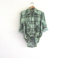 Vintage green Plaid Flannel / Grunge Shirt / washed out cotton button up shirt