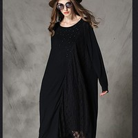 Women's Black Dress Cotton Lace Dress Long Sleeve Casual Loose Fitting Plus Size Autumn Spring