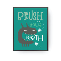 Brush Your Teeth, Monster Poster, Kids Reminder Art, Children Education, Nursery Poster, Bathroom Decor, Typography Poster, Kids Print