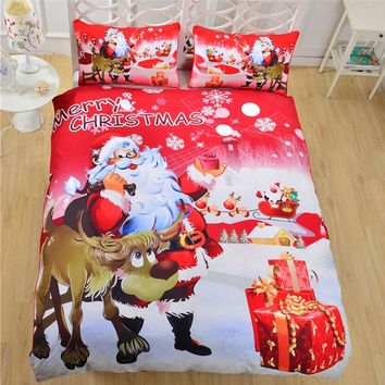 Xmas Printed Comforter King Size Bedding Set Queen Twin Christmas Luxury Blue Bed Duvet Cover Red Sheet Set Linen Parure De Lit