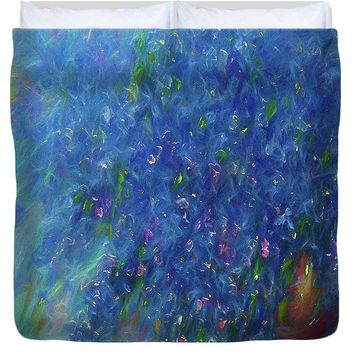 Blue Flowers Abstract - Duvet Cover