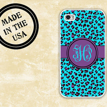 Cheetah iPhone case - Purple and Tiffany blue animal print - personalized Iphone plastic case, iphone 5  (9964)