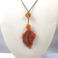 Art Deco Chinese Carnelian Necklace, Carved Leaves Shou Beads Enamel Links, 1920s Chinese Export Jewelry