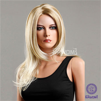 NAWOMI Curly Long 100% Kanekalon Blonde Synthetic Hair Wig Wavy Women Capless