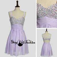 Short Lavender Open Back Strap Homecoming Dress with Beaded Top