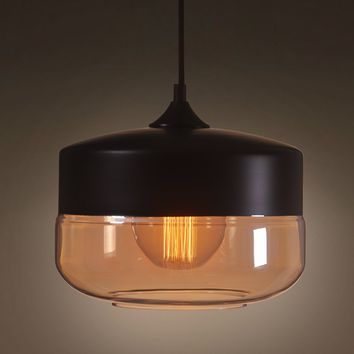 Globe 1 Light Amber Glass Pendant Lighting