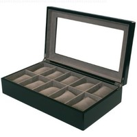 Watch Box for 10 Watches Black Matte Finish XL Extra Large Compartments Soft Cushions Clearance Window