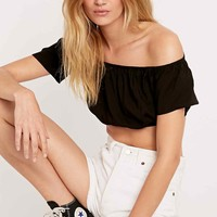 Pins & Needles Off-The-Shoulder Top in Black - Urban Outfitters