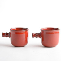 Vintage Ceramano pottery mugs cups – West German art pottery red – fat lava pottery West Germany