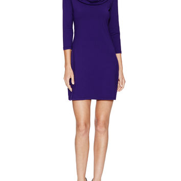 Susana Monaco Women's Funnel Cowl Neck Dress - Purple -