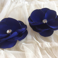 Bright royal blue Flower appliqué sew on embellishment Handcrafted for your own projects pageants weddings crowns dresses