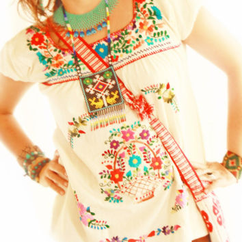 Dominica Mexican embroidered hippie blouse square neck puff sleeves