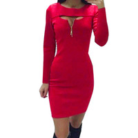 Autumn Winter Women's O Neck Front Hollow Out Zipper Strechy Bodycon Mini Dress For Evening Party Vestidos Package Hip LX017