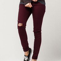 ALMOST FAMOUS PREMIUM Destructed Cuff Womens Skinny Jeans | Skinny