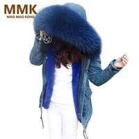 2017 New Parka Winter Fur Jacket Women Denim Coats Thick Large Real Raccoon Fur Collar Detachable Fur Liner Women Clothing