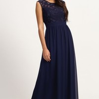 Little Mistress Navy Floral Flock Maxi Dress