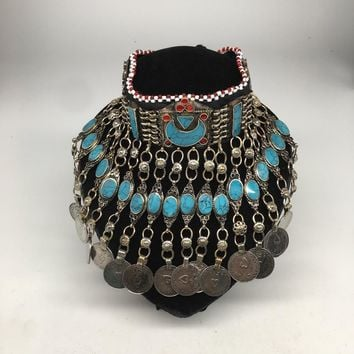 Vintage Afghan Kuchi Choker Tribal Blue Turquoise Jingle Coin Necklace Ck145