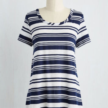 Nautical Mid-length Short Sleeves Keen Observation Top