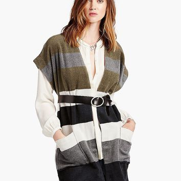 Lucky Brand Striped Wool Poncho Womens - Green Multi (One Size)