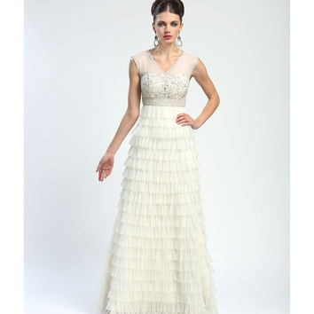 Sue Wong Summer 2014 -  Ivory Filigree & Tiered Evening Gown