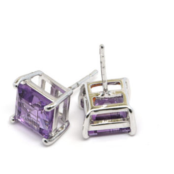 Square Amethyst Stud Earrings, Sterling Silver and Amethyst Earrings, Purple Gemstone Jewelry, February Birthstone Jewelry, Amethyst Jewelry