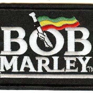 Bob Marley Iron-On Patch White Letters Flag Logo