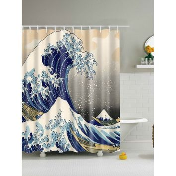 Sea Wave Shower Curtain With Hook 12pcs