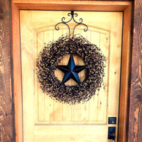 LARGE BLACK & TAN Barn Star Wreath-Primitive Home Decor-Rustic Primitive Country Decor-Scented Mulled Cider-Choose your Scent and Star