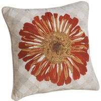 Janie Gross 18-inch Square Chenille Pillow, Red Zinnia