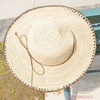 Lazy Weekend Tan Straw Floppy Hat With Brown Tie