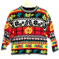Trippy Bright Vintage 80s Acrylic Tacky Ugly Sweater - The Ugly Sweater Shop