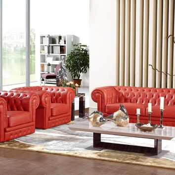 Luxury Chesterfield Monocolour Leather Sofa