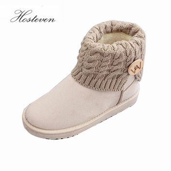 Women's Boots Winter Warm Snow Boots Mid Calf Boots  Women Ladies Girls Thick Plush Flock Women Shoes