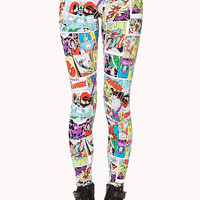 FOREVER 21 Vibrant Comic Print Leggings White/Red X-Small