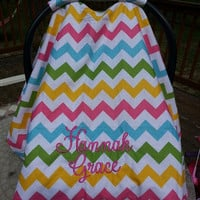 Girls Chevron Carseat Canopy with monogram - pink , green, yellow and blue