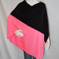 Color block Two Tone Poncho/ Lightweight Nursing Cover/ Nursing Shawl/ One shoulder Top/ New Mom Gift/ Neon Boho Poncho Top