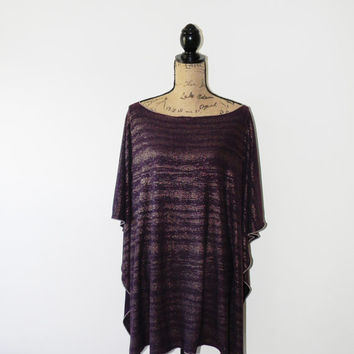 Plum with Gold Stripes Modern Poncho/ Full Coverage Nursing Cover/ Fall Nursing Shawl/ Maternity Top/ Floral Tunic/ Caftan style Poncho