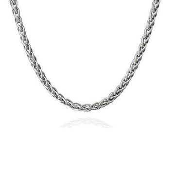 Fashion 925 Sterling Silver 3mm 16-24inch Hemp Rope Chain Necklace