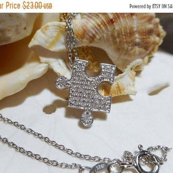 ON SALE Sterling Silver Diamond Puzzle Piece Autism Awareness Pendant Necklace .10ctw  2.75 grams