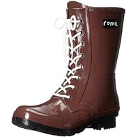 Roma Womens Epaga Rubber Lace Up Rain Boots