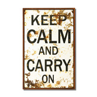 "Adeco Decorative Wood Wall Hanging Sign Plaque ""Keep Calm and Carry On"" Black, Off White Home Decor"
