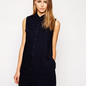 Cheap Monday Sleeveless Shirt Dress - Pre wash midnight