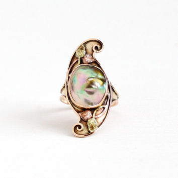 Antique Arts & Crafts 10k Gold Abalone Blister Pearl Ring - Art Nouveau Size 6 3/4 Vintage Green and Rose Gold Leaf Vine Statement Jewelry