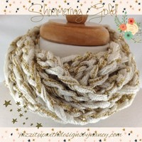 Infinity Scarf Extra Long Off White Shimmering Gold Finger Crochet