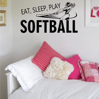 Eat Sleep Play Softball Version 2 Sports Decal Sticker Wall Vinyl