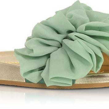 Charlotte Olympia Metallic Nappa Leather and Aquamarine Organza Flat Slide Sandals