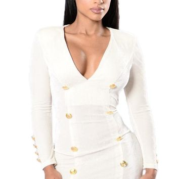 White Gold Sailor Button Detail Long Sleeve Velvet Dress